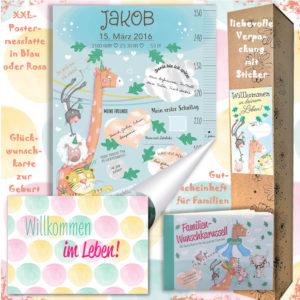 Das Einstiegspaket besteht aus einer Postermesslatte, einer Glückwunschkarte zur Geburt und einem Familiengutscheinheft, wunderschön verpackt mit dem Sticker Willkommen in deinem Leben, ein sinnvolles, bleibendes Geschenk aus Österreich