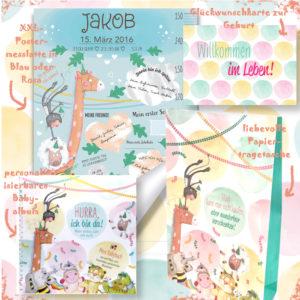 Das Treuherz Babypaket ist ein liebevolles Geschenk zur Geburt und besteht aus einer Postermesslatte, einem Babyalbum, einer Glückwunschkarte zur Geburt und einer Tragetasche
