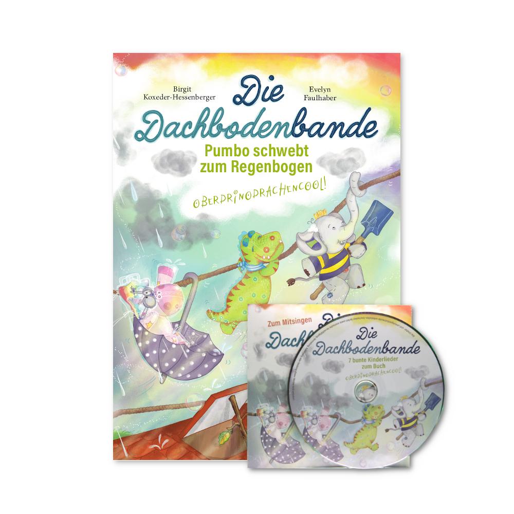 Unser kleines Fanpaket besteht aus dem zweiten Band des Kinderbuches Die Dachbodenbande und der Kinderlieder-CD von Sandra K