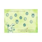 Auf der Rückseite unserer Oster-Grußkarte gibt es ein tolles Osterrätsel für Kinder.