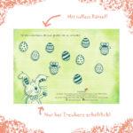 Die Rückseite der Oster-Grußkarte besticht mit einem tollen Rätsel für Kinder
