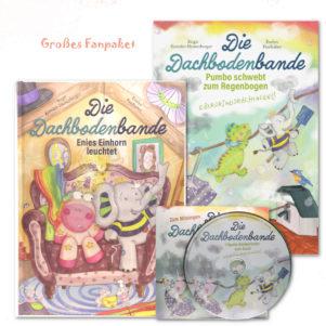 Unser großes Fanpaket besteht aus dem ersten und zweiten Bandes unserer Kinderbuchserie Die Dachbodenbande und einer dazu passenden Kinderlieder-CD