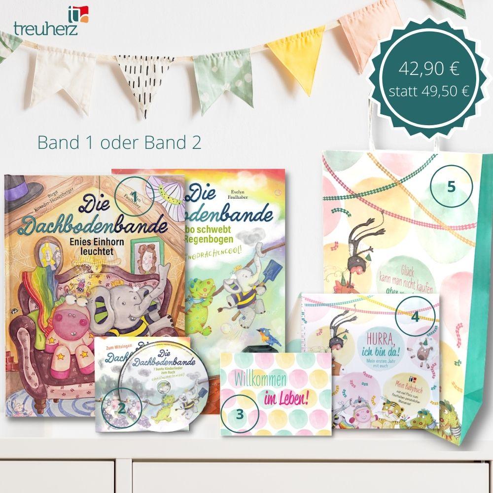 """Unser Geschwisterpaket M ist ein sinnvolles Geschenk zur Geburt. Es besteht aus dem ersten Band der Kinderbuchserie """"Die Dachbodenbande"""", der dazu passenden Kinderlieder-CD, einer Glückwunschkarte zur Geburt, einem personalisierbaren Babyalbum und einer umweltfreundlichen Papiertragetasche für alle Geschenke."""