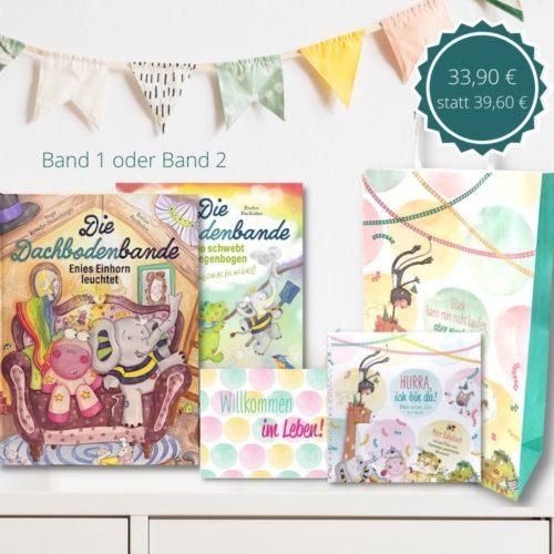 Sie suchen kreative Geschenke zur Geburt? Das Geschwisterpaket S besteht aus dem ersten Band der Dachbodenbande, einer Glückwunschkarte zur Geburt, dem personalisierbaren Babyalbum und einer Papiertragetasche für alle Geschenke.
