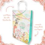 Platz für alle Geschenke zur Geburt bietet diese umweltfreundliche, liebevolle Papiertragetasche