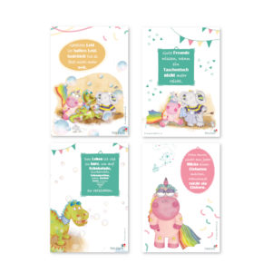 Lustige Grußkarten mit Sprüchen im praktischen 4er Set von Treuherz