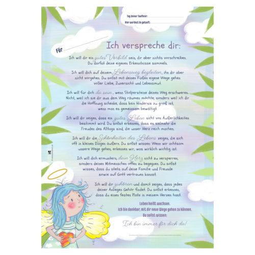Ein Poster mit berührenden Sätzen als Taufversprechen für Taufpaten von Treuherz: Geschenk zur Taufe